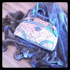 Coach signature coated canvas satchel handbag